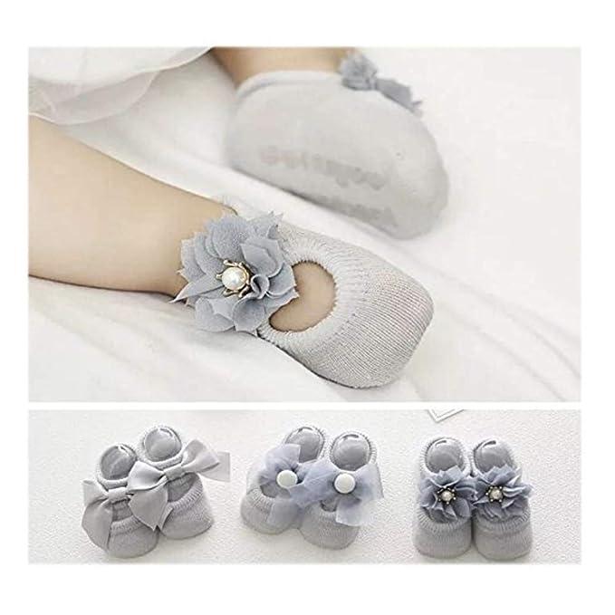 Calcetines de bebé unisex antideslizantes con volantes Calcetines de tobillo con calcetines elásticos de algodón de punto elástico 3 Pack: Amazon.es: Ropa y ...
