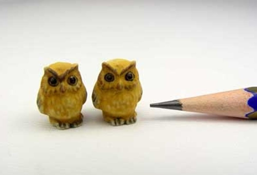 Dollhouse Miniatures Ceramic Yellow Owl FIGURINE Animals Decor by ChangThai Design