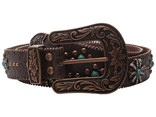 Nocona Women's Floral Embossed Rowel Conchos Belt, Copper, M