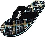NORTY - Men's Plaid Thong Flip Flop Sandal, Black 40588-10D(M) US