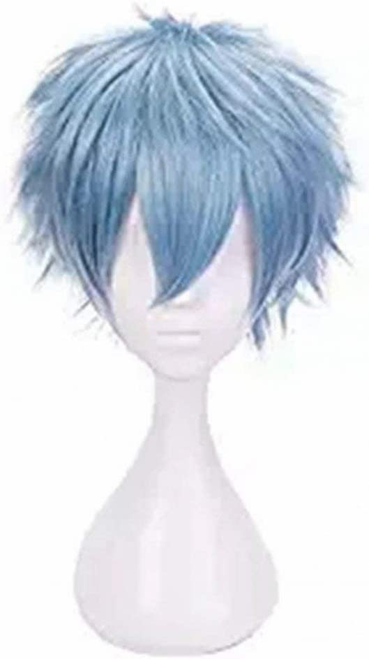 Ani·Lnc Anime Cosplay peluca pelucas sintéticas de pelo corto azul para hombres