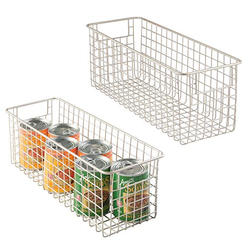 "mDesign Household Wire Storage Organizer Bin Basket with Built-In Handles for Kitchen Cabinets, Pantry, Closets, Bedrooms, Bathrooms - 16"" x 6"" x 6"", Pack of 2, Satin from mDesign"