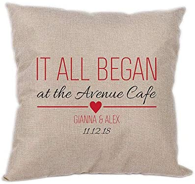 It All Began Personalized Pillow with Your Personalized Love Story 15 x15 Great Gift for St Valentine s Day Romantic Pillow by CustomizedbyBilgin Burlap