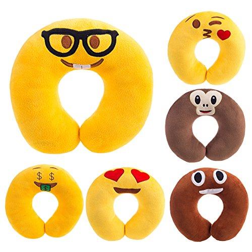 WinnerEco U shaped Emoji Neck Pillow Soft Head Rest Pillow C