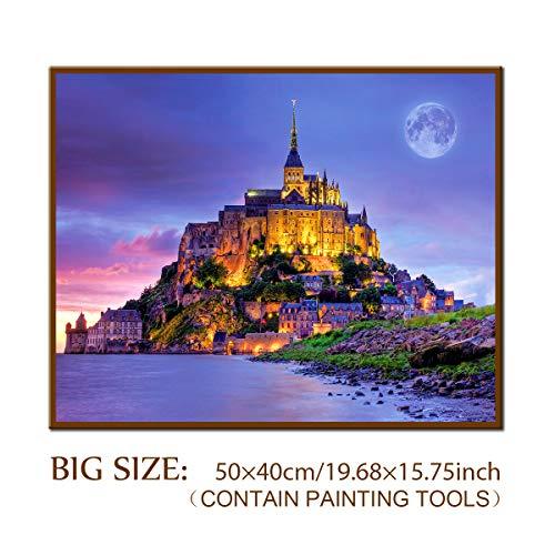 DIY 5D Diamond Painting Kit, ONE Phoenix Full Round Drill Large Near Sea Castle Kits, Clearance Rhinestone Diamond Art Craft for Home Wall Decor, Contain Tools (50x40CM/15.75x11.81INCH)