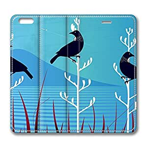 iPhone 6 Leather Case, Personalized Protective Flip Case Cover Tui Birds for New iPhone 6