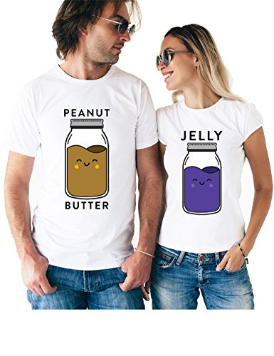 Peanut Butter Jelly Matching Couple T Shirts - His and Hers Custom Shirts - Couples Outfits for Him and Her