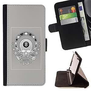 BullDog Case - FOR/Samsung ALPHA G850 / - / MAGIC 8 SKULL CASINO GAMBLING GREY /- Monedero de cuero de la PU Llevar cubierta de la caja con el ID Credit Card Slots Flip funda de cuer