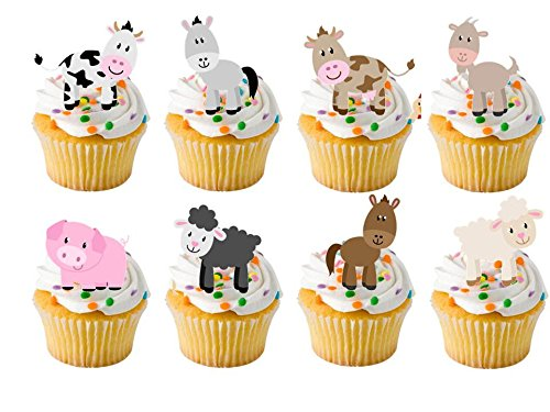 24 x Farm Yard Animals Childrens Farm yard STAND UP STANDUPS Fairy Muffin Cup Cake Toppers Decoration Edible Rice Wafer Paper