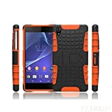 Xperia Z2 Case, Sony Xperia Z2 Case,[Tank Series] Shockproof Drop Resistant Scratch Resistant Hybrid Dual Layer Hard Plastic Super Protective Case Cover with Kickstand for Sony Xperia Z2-Orange