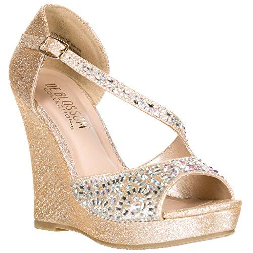 DeBlossom Dressy Glitter Rhinestone T Strap Platform Wedge Sandal Aalle-Nude 53 Size ()