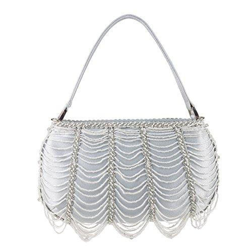 Farfalla 90314 - Bolso estilo sobre de satén mujer Plata - plata