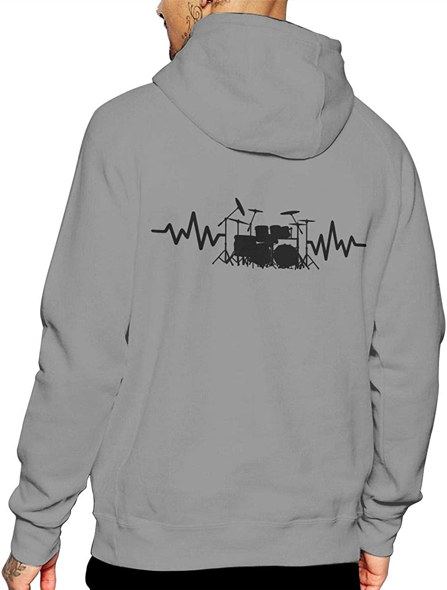 Casual Cotton Outwear with Pocket for Men Mens Heart Beat Drum Set-1 Hooded Fleece