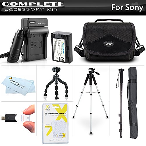 Advanced Accessory Kit For Sony Cyber-Shot DSC-HX100V, DSC-HX200V Digital Camera Includes Extended (1000mAh) Replacement NP-FH50 Battery + Ac/Dc Travel Charger + Deluxe Case + 57