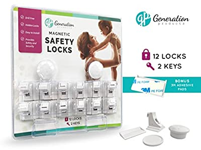 Generation Products Baby Magnetic Drawer & Cabinet Safety Locks - No drilling 3M Adhesive Tape 12 Locks 2 Keys Child Proof Safety Locking System
