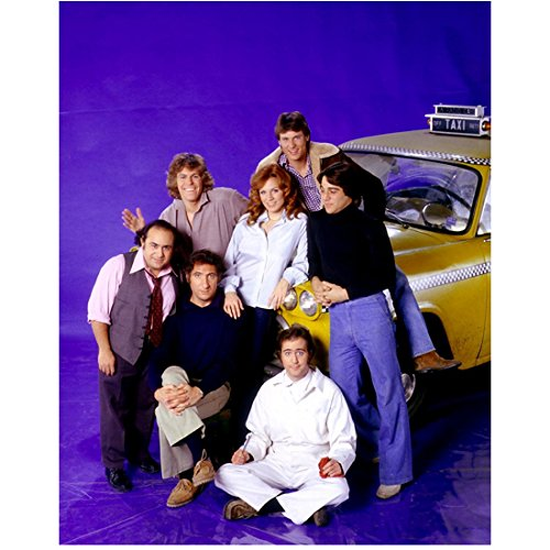 Taxi Cast (Judd Hirsch 8 Inch x10 Inch Photograph Taxi (TV Series 1978 - 1983) w/Cast Purple Background kn)
