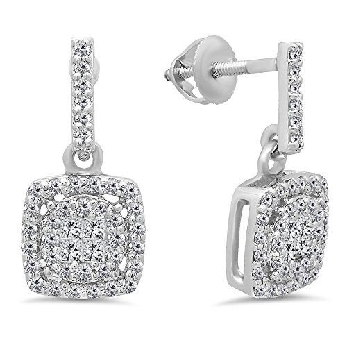 Diamond Fancy Dangle (0.60 Carat (ctw) 10K White Gold Princess & Round White Diamond Ladies Cluster Style Drop Earrings)