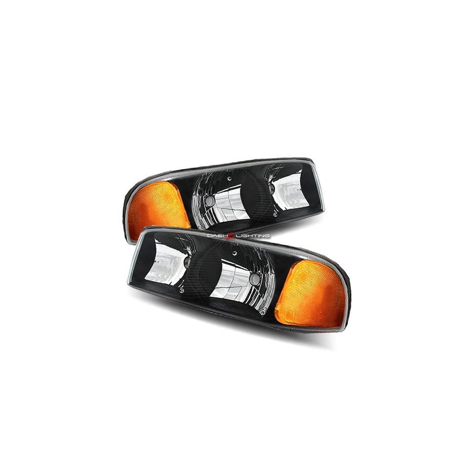 00 06 GMC Yukon / XL / SLT 01 06 GMC Yukon Denali / XL 99 06 GMC Sierra / Sierra Denali Black Crystal Housing Headlights