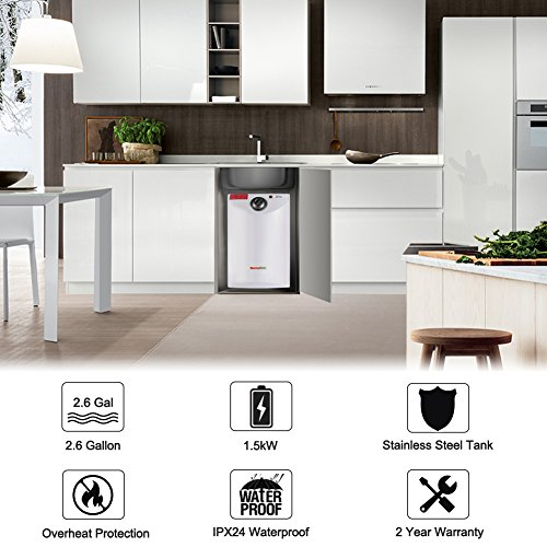 Thermoflow UT10 2.6-Gallons Electric Mini-Tank Water Heater for Under Sinks, 1.5kW at 120 Volts