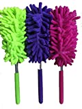 Extendable duster with telescopic pole,soft grip, machine washable, lint-free, cleaning duster for home