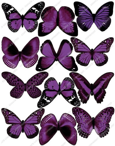 Cakeshop 12 x PRE-CUT Purple Edible Butterfly Cake Toppers ()