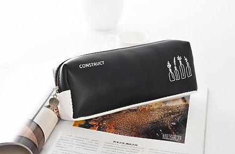 Bancn distinctif simple crayon noir et blanc sac en cuir trousse