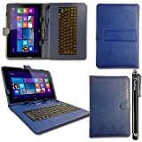 iTechCover® Nextbook Flexx 8 Windows Tablet Blue Universal Range (8 Inch) Keyboard Case Pu Leather Folio Wallet Cover Pouch With Desktop Stand & Capacitive Touch Screen Stylus Pen