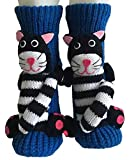 PreSox Non-slip Knit Sweater Warm Household Floor Socks for Women (Blue black and white cat)