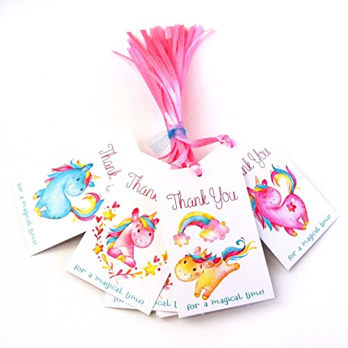 Unicorn Thank You Favor Tags – Children Girl Birthday Baby Shower Party – Set of 24