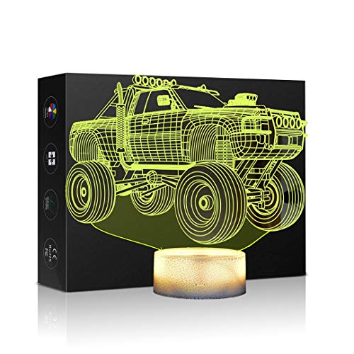 Night Light 3D Illusion Lamp monster truck Touch Table Desk Lamps 7 Color Changing optical Illusion LED Light monster car Figure Table Lamp Childrenroom Theme Decoration and Kiddie Family Holiday Gift -