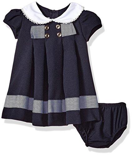 Bonnie Baby Baby Girls Nautical Dress, Navy with Stripe Ribbon, 3-6 Months