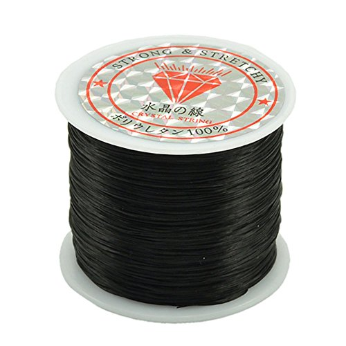 Rubber String 0.5mm Crystal Elastic String Angela_max Rubber Band DIY Jewelry Making Cord Bracelet Beading Stretchy Thread 50m/Roll for Children Adult Craftman Gift - Black - Holds 3 Charms