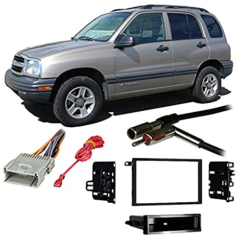 amazon com: fits chevy tracker 1998-2004 double din stereo harness radio  install dash kit: car electronics