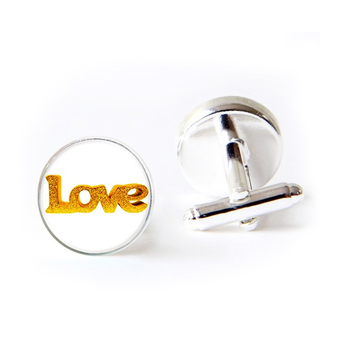Unique Round Cufflinks Set English Word '' Love '' Bling Bling Glass Cuff Dress Shirt Links Wedding Business Anniversary Gift for Him