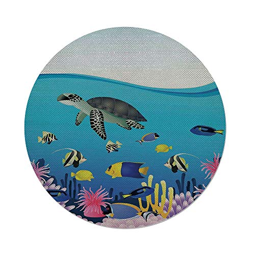 Round Tablecloth,Whale,Illustration of Sea Anemone Turtles Goldfish Snorkel Tropical Seascape Cartoon,Light Blue Yellow,Dining Room Kitchen Table Cloth Cover ()