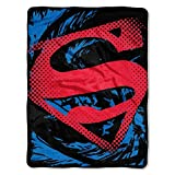1 Piece 46 X 60 Kids Red Blue Superman Theme Throw Blanket, Geometric Super Man DC Comics Movie Television Show Superhero Soft Picnic Car Style Accent Bedding Couch Sofa Bedroom Bed, Polyester