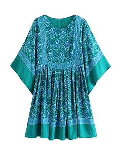 R.Vivimos Women's Summer Cotton Half Sleeve Casual Loose Bohemian Floral Tunic Dresses (Small, Green)