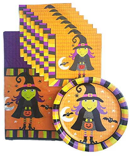 Halloween Witch, Ghost and Bat Party Supplies Paper Plate and Napkin Bundle Set of 3 Includes Plates, Napkin and Tablecloth - Service for 18 -