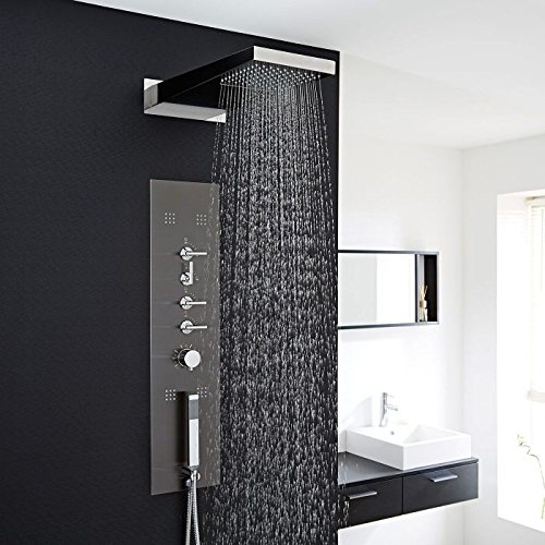 Hudson Reed Concealed Thermostatic Shower Panel With Waterfall Head, Handset & 4 Body Jets In Chrome Finish