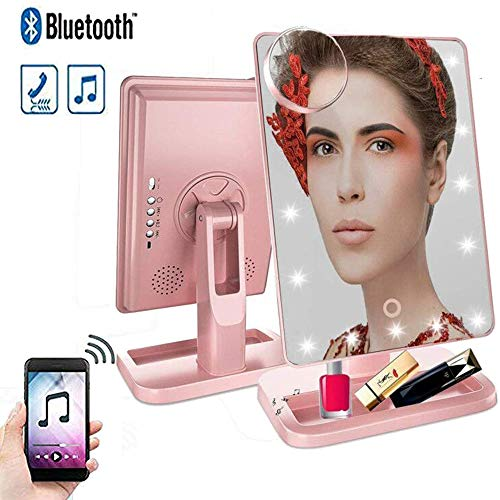 Hansong Makeup Mirror with Lights and Bluetooth- Vanity Mirror with 10x Magnification,Cosmetic Mirror with 20 LED Lights,180° Rotation, USB Charging (Rose Gold) -