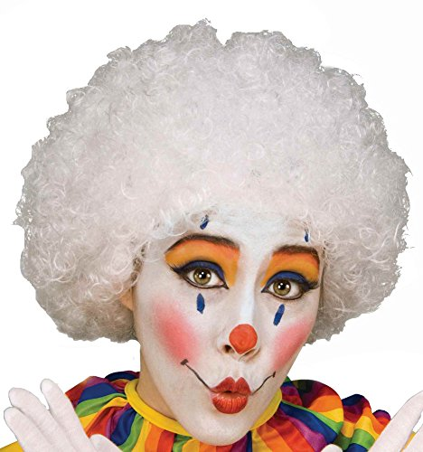 Unisex Afro Wig/ Assorted Color Clown Wigs, White, One Size - White Afro Wig