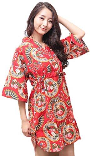 Ramatic Women and Men Floral Cotton Kimono Robes Top and Bottom Japanese Jinbei Short Pajamas Sleepwear Yukata Plus Size (US L:Tag XL, Asian Red for Women) ()