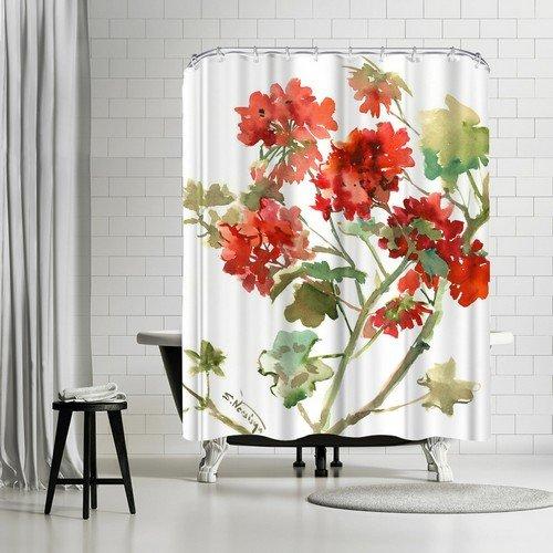 """""""Geranium 2"""" Shower Curtain by Suren Nersisyan 74"""" H x 71"""" W x 0.1"""" D"""
