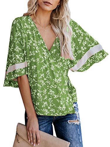 Womens V Neck 3/4 Sleeve Shirts Kimono Wrap Top Floral Tie Wiast Chiffon Blouses Green