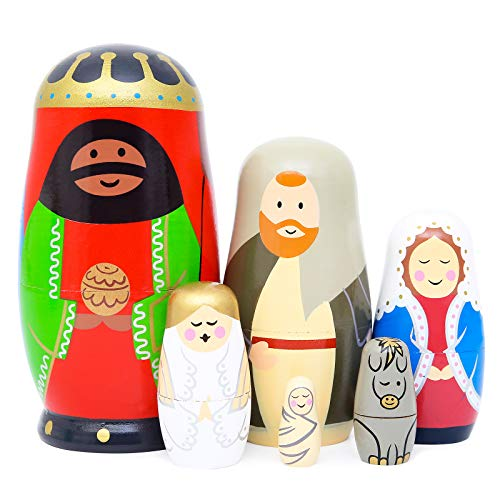 Moonmo - Nesting Doll Holy Family -The Nativity Family Wooden Nesting Dolls Matryoshka Nativity Figurines-Set of 5 Dolls (Brown)