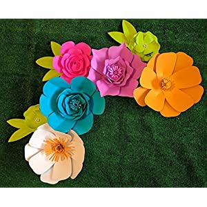 Bright Multicolor Paper Flowers for Backdrops - Includes 7 Paper Flowers and 3 Pairs of Paper Leaves - Fully Assembled 8