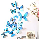 iumei 12pcs Wall Stickers 3D Wallpaper DIY Wall Stickers Wall Home Decor Home Decorations 3D Butterfly Rainbow (Blue)
