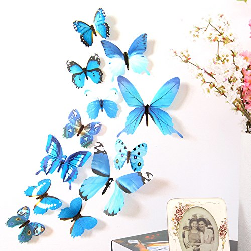 12pcs Decal Wall Stickers Home Decorations 3D Butterfly Rainbow - HHmei 12 Butterfly Sets H-023 (Blue)