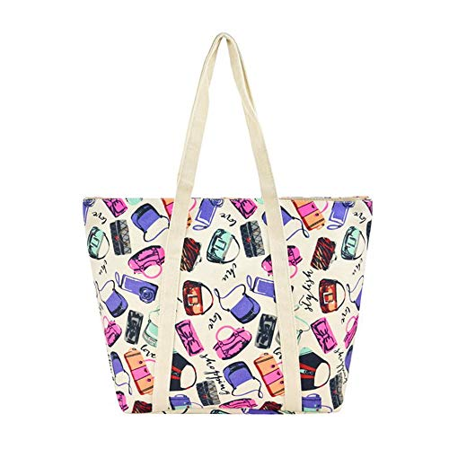 (Alady Fashion Women Shoulder Canvas Tote Bag with Zipper Closure Multi Purpose Large Travel Shopping Beach Bags,)