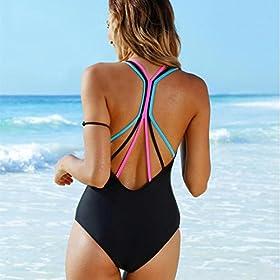 - 51wWGbBK 2BnL - BSGSH Women's Strappy Tummy Control Monokini One Piece Swimsuit Retro Bathing Suit